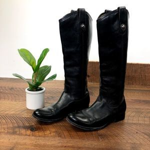 FRYE Melissa Button Tall Black Leather Riding Boot